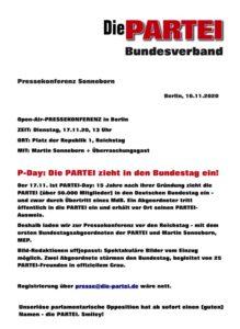 Pressemitteilung der PARTEI vom 16.11.2020