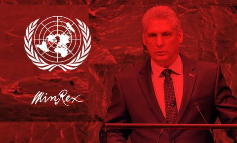 Mario Díaz-Canel Bermúdez, Präsident der Republik Kuba, bei der 31. virtuellen Sondersitzung der UN-Generalversammlung. Foto: Estudios Revolución