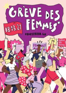 Luxemburger Frauenstreik 2021. Plakat: JIF
