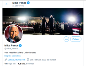 Mike Pence änderte auf Twitter sein Titelbild
