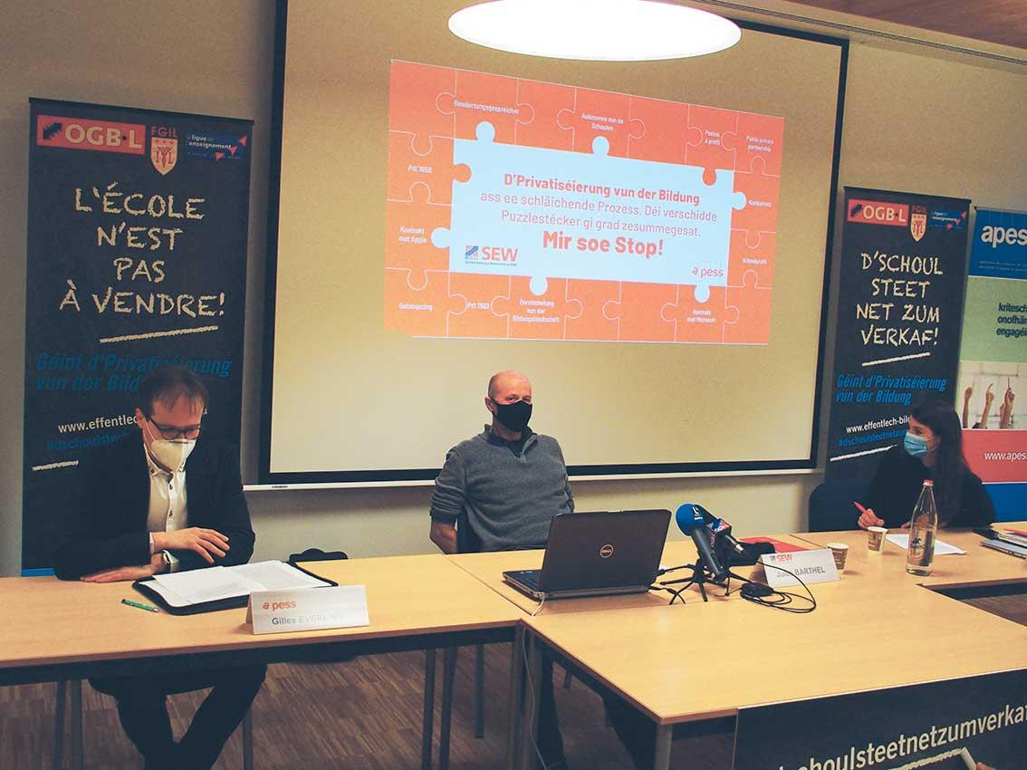 Gilles Everling, Jules Barthel und Vera Dockendorf (v.l.n.r.) während der Pressekonferenz (Foto: ZLV)