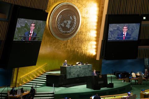 Bruno Rodríguez vor der UN-Vollversammlung. Foto: UN